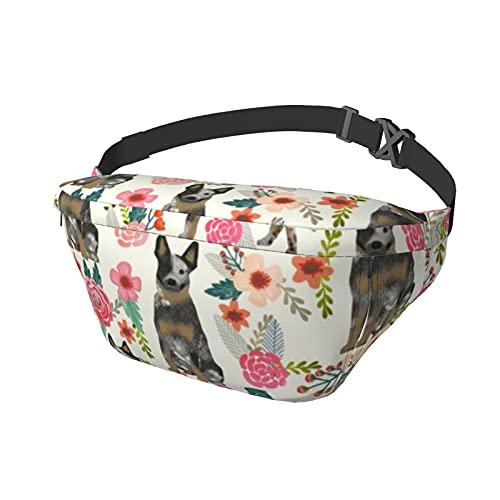 Paquete de cintura para perros de ganado australiano, diseño floral, color crema, para correr, unisex, bolsa de hombro