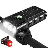 Luci Bicicletta LED Ricaricabili USB, 1500LM Luci per Bici Anteriori e Posteriori Lega di Alluminio - IPX6 Luci per Bici Bicicletta MTB,Torcia da Testa Lampada Frontale Bici Faro