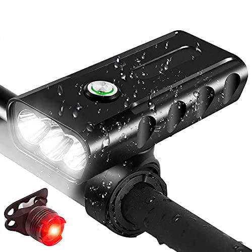 Afaneep Fahrradlichter, 5200 mAh, Vorderlicht und Rücklicht – helles Cree-Fahrradlicht-Set, wiederaufladbar, USB Fahrradlichter vorne und hinten