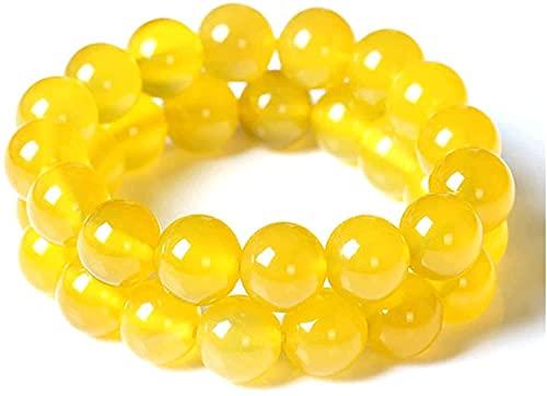 2 piezas de pulsera de limpieza corporal de jaspe amarillo, cuentas antifatiga para piedra curativa de cristal curativo Reiki (6mm)