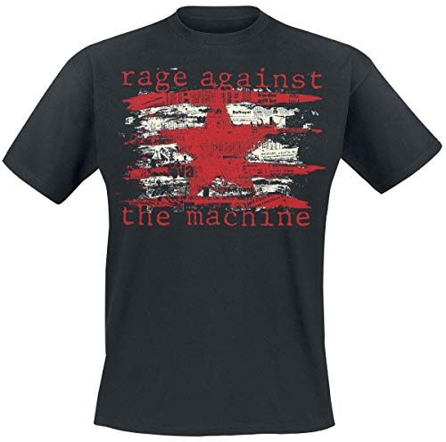 Rage Against The Machine Newspaper Star Männer T-Shirt schwarz L 100% Baumwolle Band-Merch, Bands