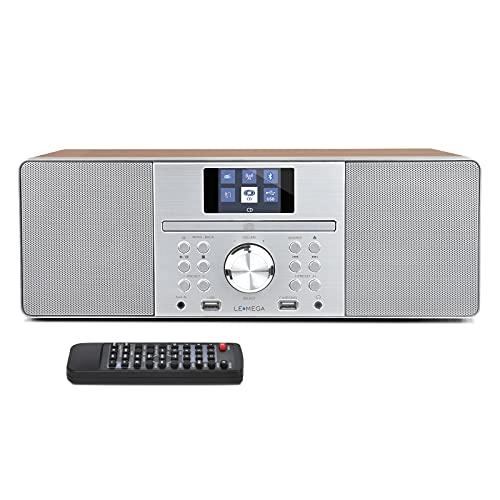 LEMEGA MSY1 Altoparlante stereo da 20 W con radio digitale DAB + e FM, lettore CD, Bluetooth, USB, Aux, orologio, sveglia e display TFT - Noce