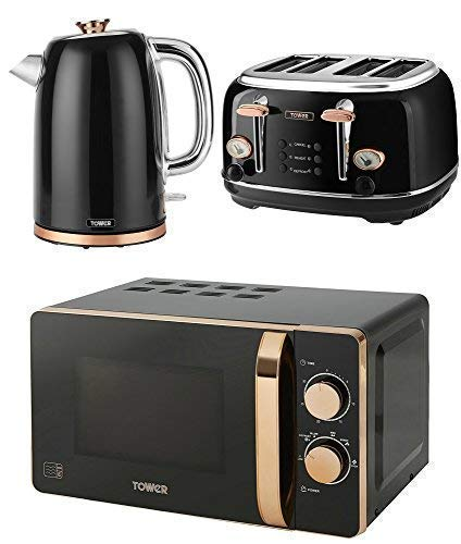 TOWER Kitchen Appliance Retro Stylish Set - ROSE GOLD & BLACK Manual 20 Litre Microwave, ROSE GOLD & BLACK 1.7 Litre Jug Bottega Kettle & ROSE GOLD & BLACK Bottega 4 Slice Toaster