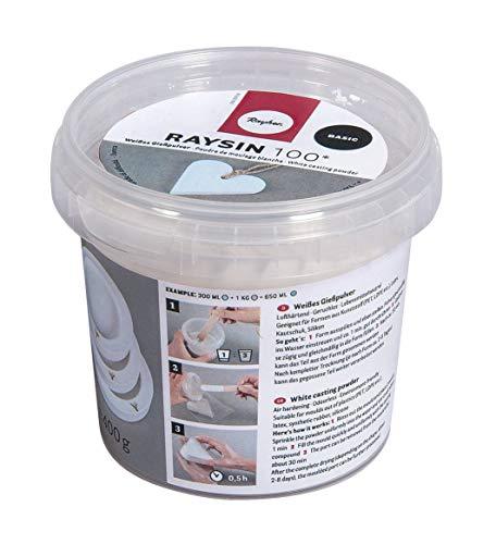 Rayher 34406102 Raysin 100 Gießpulver, 400g Eimer, weiß