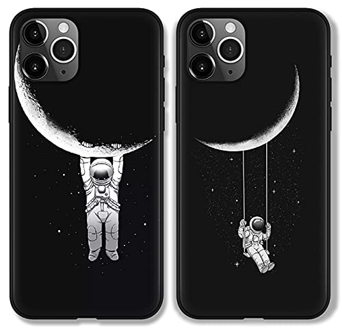 ZhuoFan 2 Piezas Funda para Samsung Galaxy A6 2018 Dibujos Negro Silicona Cárcasa Suave Flexible TPU Antigolpes Anti-arañazos Ultra Fina Bumper Case Fundas Móvil para Samsung A6 2018 5,6', Astronauta
