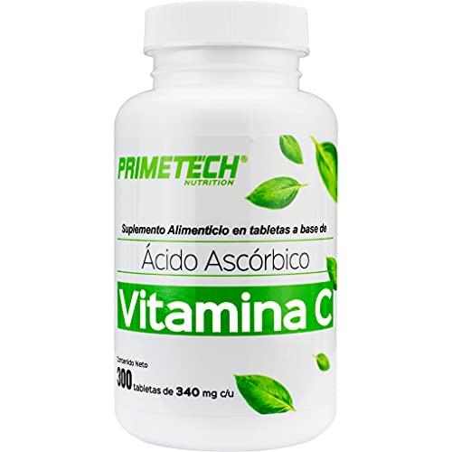 Vitamina C Primetech 300 tabletas con 300 mg de vitamina C cada una, la dosis autorizada por cofepris en México y recomendada para el sistema inmune