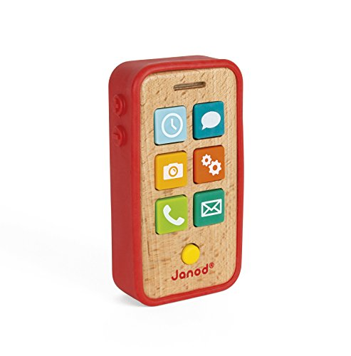 Review Janod Beech Wood Sound & Light Toddler Cell Phone with Silicone Cover for Pretend Play Ages 1...