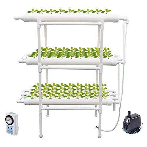 ColouredPeas Hydroponic Grow Kit, 108 Plant Sites 12 Pipes 3 Layers Hydroponics Gardening Growing System Planting Equipment with Water Pump, Pump Timer, Nest Basket and Sponge for Leafy Vegetables