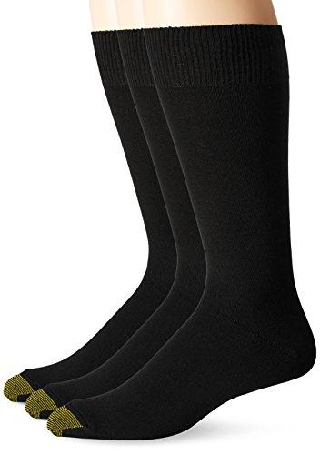 Gold Toe Herren Socken 3er-Pack Micro Flat Knit Crew - Schwarz -