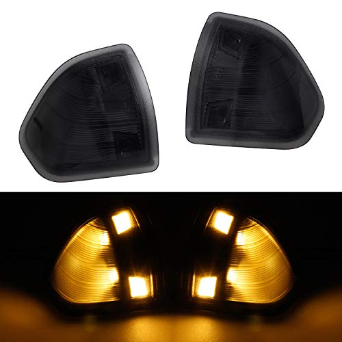 HERCOO LED Side Mirror Turn Signal Light Left and Right Lamps Smoked Cover Lens for 68302828AA 68302829AA Compatible with 2010-2018 Dodge Ram 1500 2500 3500 4500 5500, Pack of 2