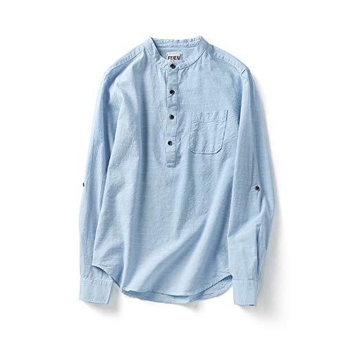 Camisa para Hombre Primavera y Verano Simple Color slido Cuello Alto Camisa Suelta de Manga Larga Camisa Retro de algodn Puro Suave Informal M