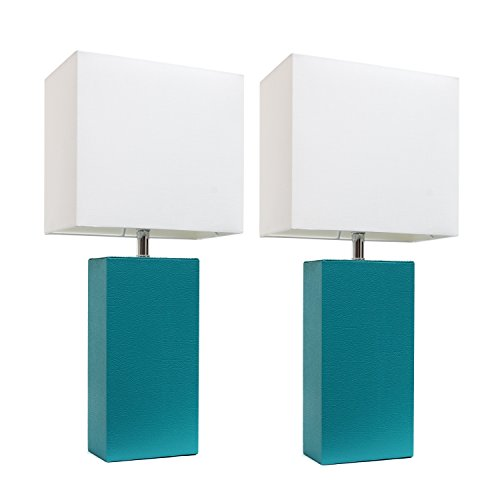Elegant Designs LC2000-TEL-2PK 2 Pack Leather Lamps 2 Pack Modern Leather Table...