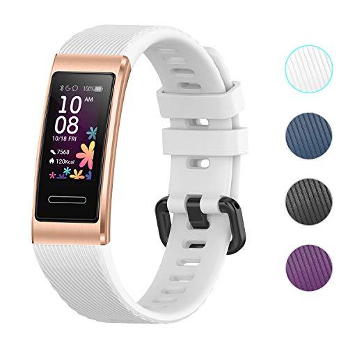 Seltureone Ersatzarmband Kompatibel für Huawei Band 4 Pro,Armband Schutzband Fitness Tracker Schnellverschlussriemen Einfarbiges Silikonband für Huawei Band 4 Pro für Frauen Männer,Weiß