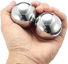 Par Bolas de Metal Chinesas Terapeuticas Mãos Stress Saúde com Som + Chaveiro Bola Chinesa - 5cm