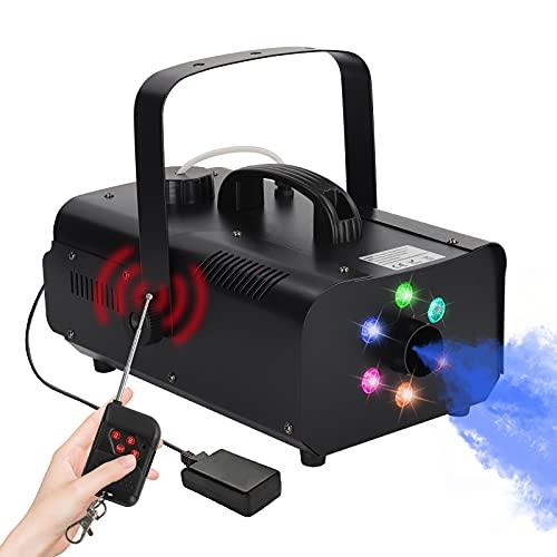 Máquina de humo de 1200 W con 6 luces LED de colores con efecto RGB, 5600 CFM, Máquina de Niebla con mando a distancia para fiestas, bodas, Halloween y escenarios