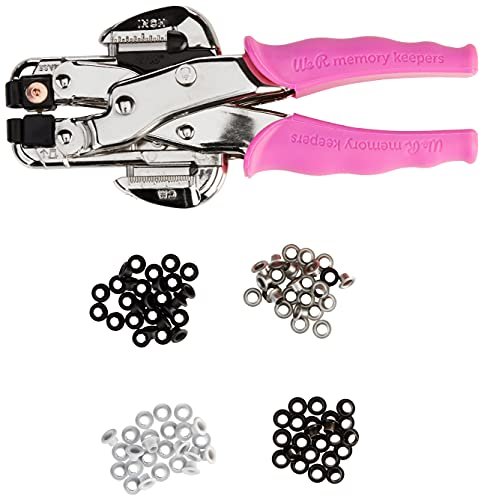 Crop-A-Dile Eyelet and Snap Punch Kit by We R Memory Keepers | includes Crop-A-Dile with pink comfort handle, heavy-duty-plastic carrying case, 100 eyelets in assorted colors and instructions