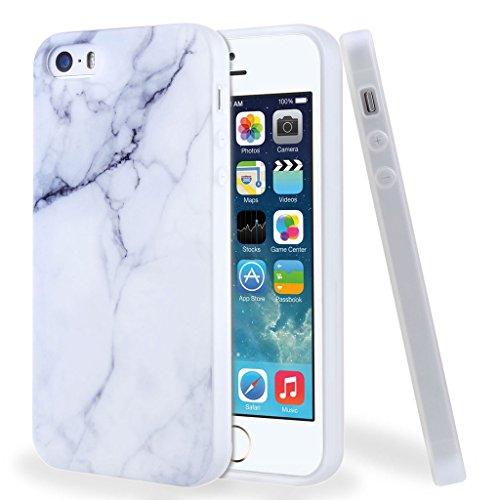 Leathlux Funda para iPhone SE / 5 / 5S, Premium Mármol Patrón Suave TPU Carcasa Protector Bumper Tapa Flexible Silicona Gel Ultra Delgado Cubierta para Apple iPhone 5 / 5S / SE
