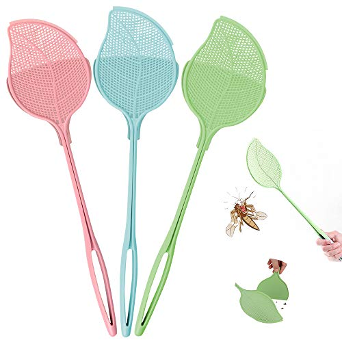 MMTX Matamoscas, 3 Piezas Matamoscas Manual Mano, Matamoscas de Plástico para Moscas, Ayudante de Cocina Control Plagas, Color Verde, Rosa y Azul