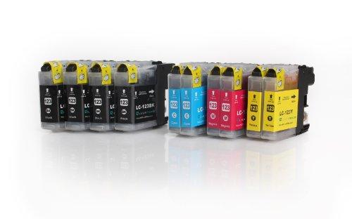 Multipack - 10 XL Druckerpatronen (LC-121/LC-123) kompatibel zu BROTHER (4x BK & je 2x C/M/Y) mit CHIP für Brother DCP-J752DW MFC-J870DW J6920 DW J4110 DW J4410 DW J4510 DW J4610 DW J4710 DW