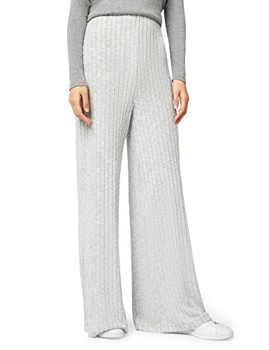 Marca Amazon - find. Soft Brushed Textured Wide Leg - Pantalones Mujer, Gris (Grey), 46, Label: XXL