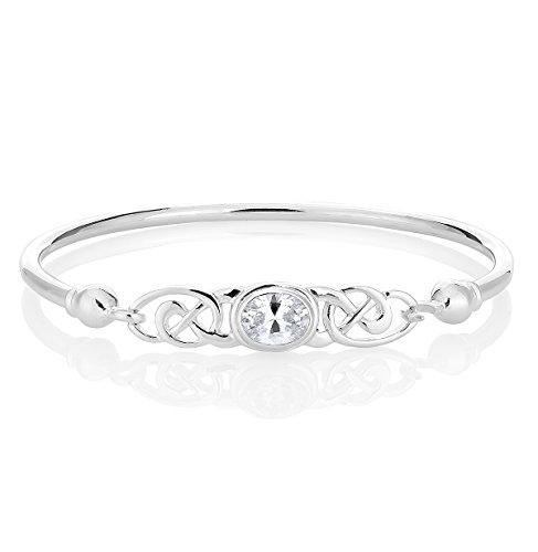DTPsilver -Damen Armreif/Armbänder 925 Sterling Silber - Keltische Dreifaltigkeitsknoten - keltischen Kollektion - Zirkonia