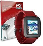 atFoliX Schutzfolie kompatibel mit Pebble Time Folie, ultraklare & Flexible FX Bildschirmschutzfolie (3X)