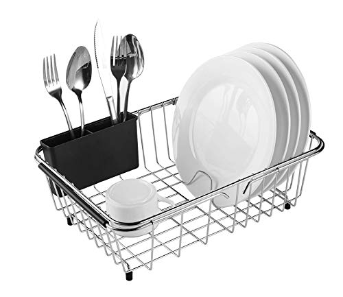 Expandable Dish Drying Rack, 304 Stainless Steel Over Sink Dish Drainer, Dish Rack in Sink or On Counter with Utensil Drying Rack, Rustproof- Medium