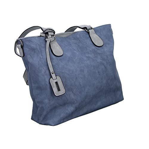 Rieker Damen Handtasche Henkeltasche Blau (adria/grey)