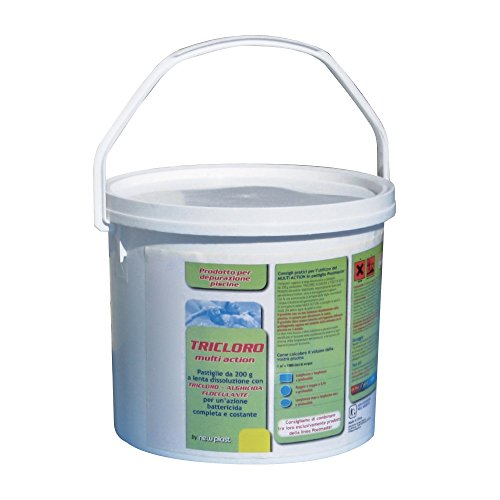 New Plast 0961 - Tricloro in Pastiglie da 200 g per Acqua Piscina, Formula 5 Azioni, Fustino 5 kg