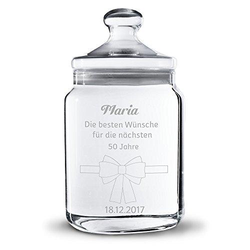 Personello® Keksdose aus Glas mit Gravur (Motive und Größen auswählbar), Süßigkeiten-Glas mit Ihrem Wunschtext, Glückwunsch, Gruß oder Spruch gestalten, (groß = 25cm)