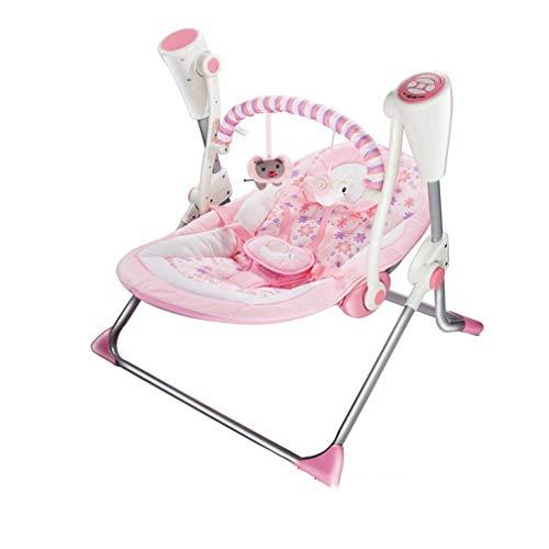 ZWQ kids Chaise à Bascule Swing électrique, Berceau du Sommeil du Nouveau-né, Chaise de lit inclinable Multifonctionnel avec moustiquaire,A