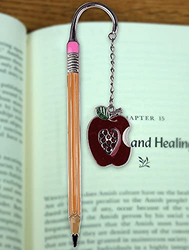 Teacher Bookmark - Apple Bookmark with Jewels - Pencil Bookmark - Teacher Gift - Gifts for a Teacher - Back to School