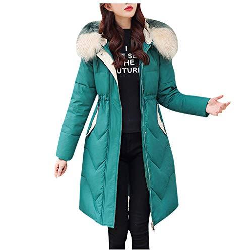Yezijin Lange Daunenmäntel für Damen, Warmer Wintermantel mit Kapuze aus dickem Kunstfell, warm, schmaler Mantel - Grün - XXX-Large