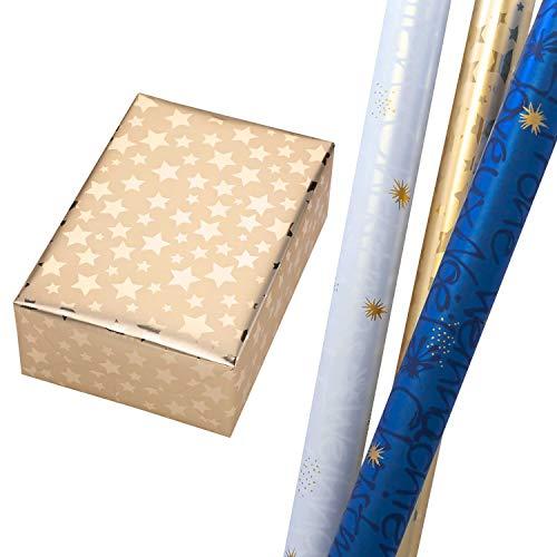 Geschenkpapier Weihnachten Set 3 Rollen (75 x 150 cm), Weihnachtsschrift in Perlglanz-Blau + Perlglanz-Weiß (mit Rückseite) und Sterne in Metallic-Gold. Für Geburtstag, Weihnachtsgeschenkpapier.