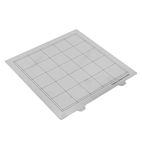 ASHATA 3D Printer Hot Bed Platform Steel Plate, 3D Printer 300 * 300mm Hot Bed Heatbed Platform Steel Build Plate with Handle,Flexible Detachable 3D Printing Build Surface 3D Printer Accessories