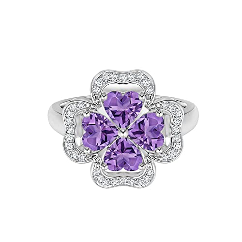 Shine Jewel ¡Anillo de Flores! 0.50 CTW Anillo de trébol de Piedras Preciosas de Amatista de corazón Inspirado en la Naturaleza Plata 925 (20)
