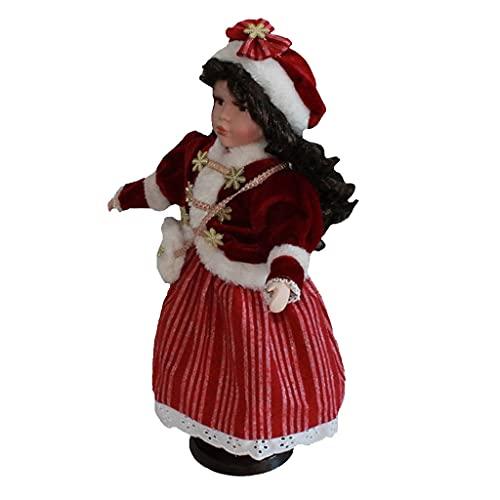 HomeDecTime 15,74 Pulgadas / 40 Cm Muñecas de Porcelana Coleccionables de Las Hermanas de Las Mujeres con El Pelo Rizado, en Traje de Vestido de Navidad