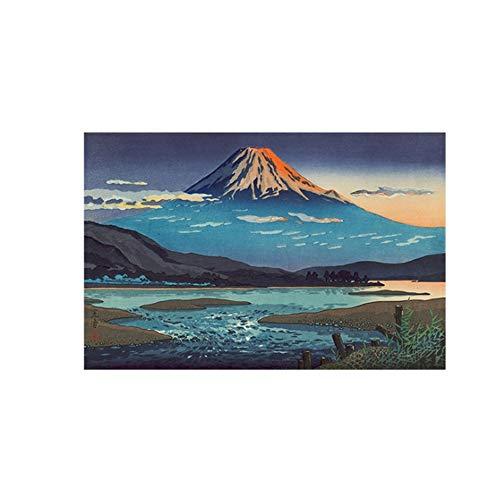 YANGMENGDAN Druck auf Leinwand Wave Leinwand Malerei Kanagawa Surfing Mount Fuji Poster Wandkunst Leinwand Bilder für Wohnzimmer Dekor 23,6