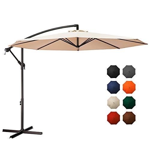 MEWAY 10ft Outdoor Umbrella Backyard Umbrella Deck Umbrella Cantilever Patio Offset Umbrella with Crank & Cross Base, Easy to Instal (10ft, Beige)