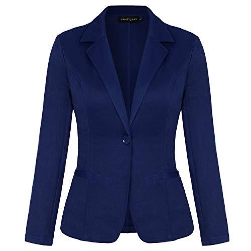 MINTLIMIT Damen Blazer Dünn Langarm Knopfleiste Leicht Bolero Jacke Cardigan Anzugjacke mit Taschen Blau M