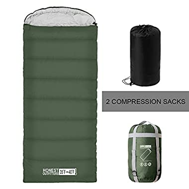 HONEST OUTFITTERS Sleeping Bag with Compression Sack, Envelope Portable and Lightweight for 3-4 Season Camping, Hiking, Traveling, Backpacking and Outdoor Activities (Bottle Green)