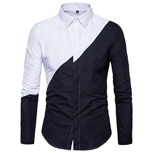 JOFOW Men's Casual Long Sleeve Shirts Cotton Block Patchwork Fit Oxford Blouses Tops Black