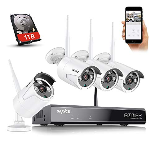 Wireless Security Camera System, SANNCE 8CH 5MP WiFi NVR, 4X 3MP Outdoor Metal Wireless Surveillance IP Cameras, Built-in Mic, P2P & Smart AI Human Detection(1TB HDD)