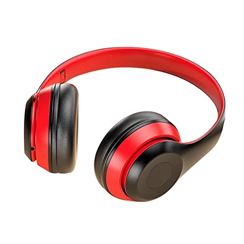 Pkfinrd Auriculares de Juego Auriculares Bluetooth Auriculares Cancelación de Ruido Activo sobre Oreja Auriculares Proteína Plegable Earpads Modo con Cable inalámbrico Auriculares (Color : Red)