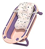 Baby Bath Set Bath Support Bath Seat Floating Soft Baby Bath Pillow Lounger Newborn Pad Tub Cushion,Foldable Safe Non-Slip Portable (Purple)