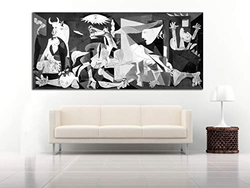 Cuadro Lienzo el Guernica de Picasso - 80x36 cm - Lienzo de Tela Bastidor de Madera de 3 cm de Grosor - Fabricado en España - Impresión en Alta resolución y Calidad (80, 36)