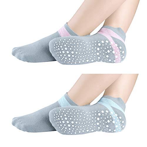 Qishare 2 Paar rutschfeste Grip Yoga Socken für Frauen und Männer, Protect für Yoga, Pilates, Mutterschaft, Trampolin, Zumba, Tai Chi und zu Hause, Low-Cut Socken (Grau&Pink, Grau&Blau, S)