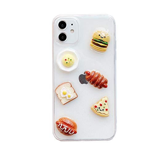 ZHYLIN Telefoonhoesje voor iPhone 11 Pro Max Leuke Hamburger Telefoonhoes voor iPhone 6 7 8 Plus Hoesje Brood Styling Back Cover Case voor iPhone Xs XR Beschermende Shell, iphoneX, A