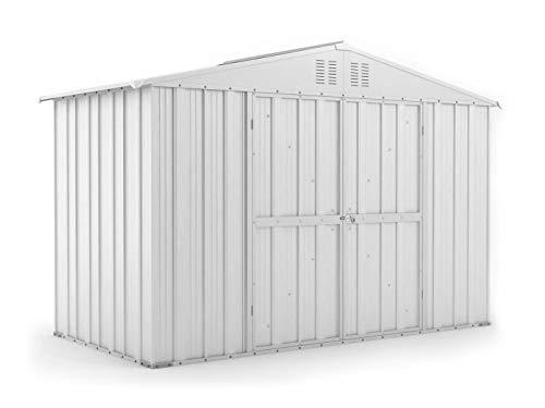 Notek Srl Box in Acciaio Zincato Casetta da Giardino in Lamiera 3.27 x 1.55 m x h2.17 m - 114 kg - 5.06 Metri Quadri (Bianco)