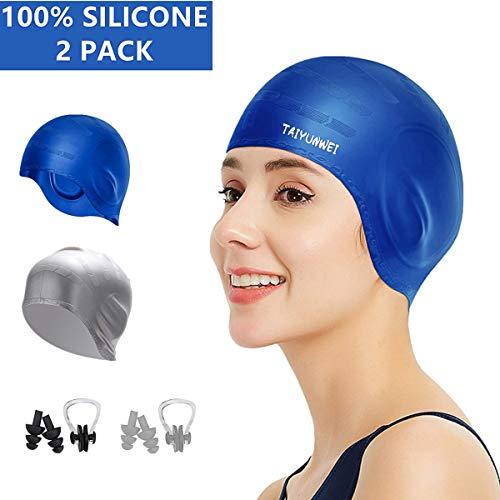 TAIYUNWEI - Gorro de natación de silicona, 2 unidades, gorro para el pelo largo, gorro de natación con bolsillos para los oídos, unisex, impermeable, antideslizante